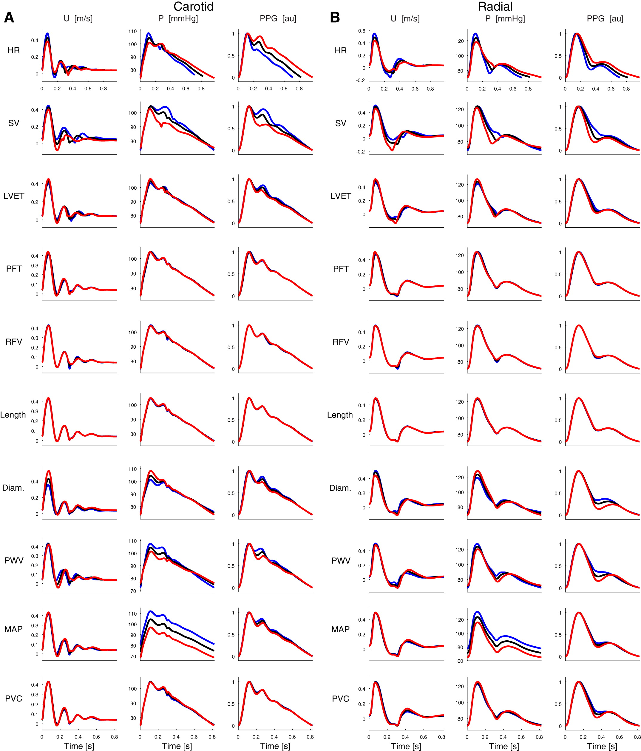 **Pulse waves (PWs) for the 25-yr-old subject at the carotid artery (A) and the radial artery (B).** The waves shown are at baseline (black), and those obtained when increasing (blue) and decreasing (red) each parameter independently by 1 SD from its baseline value. _Source: PH Charlton et al., doi: [10.1152/ajpheart.00218.2019](https://doi.org/10.1152/ajpheart.00218.2019) ([CC BY 4.0](https://creativecommons.org/licenses/by/4.0/))._